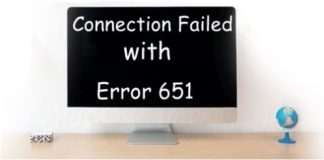 Connection failed with error 651