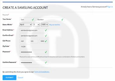 create samsung account for tv