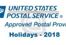 USPS Federal holidays
