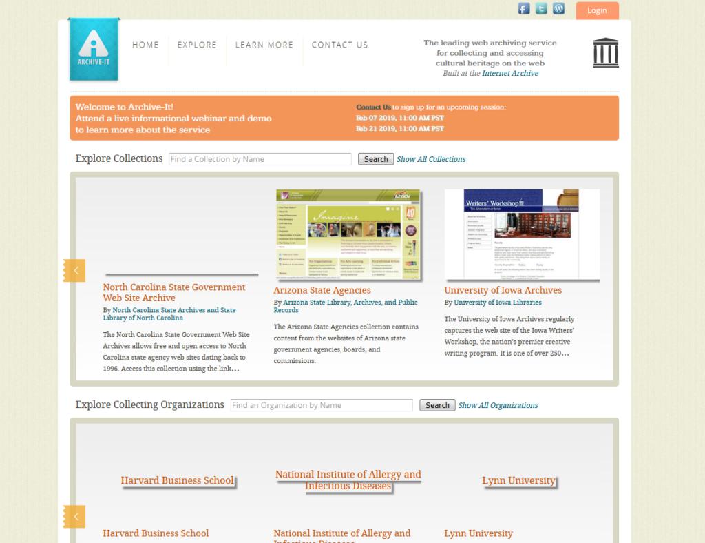 Archive-it.org - Wayback Machine Alternatives